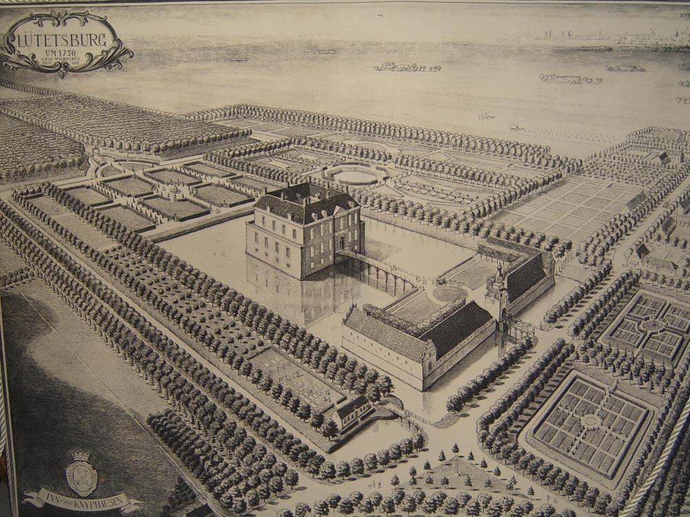 Het kasteel in 1750
